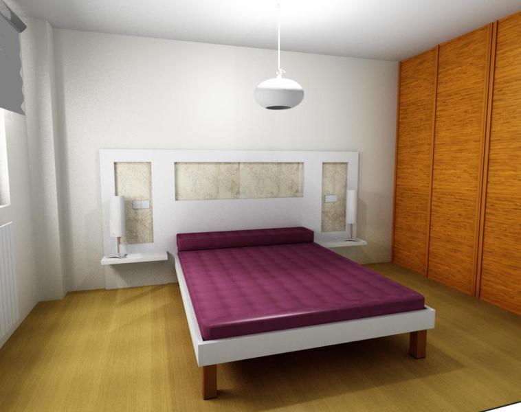Dise o cabecero de cama original con papel pintado y dm - Diseno de cabeceros de cama ...