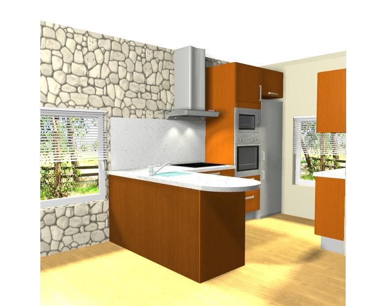 Dise o de cocina abierta al sal n de apartamento en la for Diseno de cocina abierta