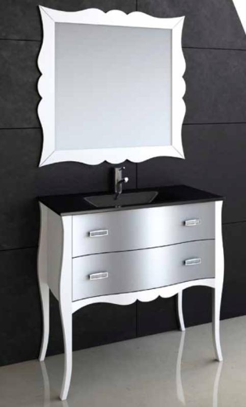 Mueble baño clásico blanco y plata tiradores swaroski – Reformas y