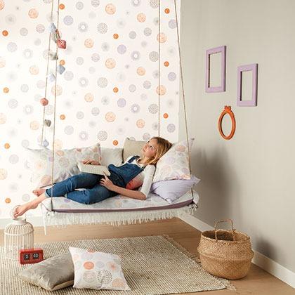 Papeles pintados dormitorios ni as grises y naranjas - Papeles pintados dormitorios ...