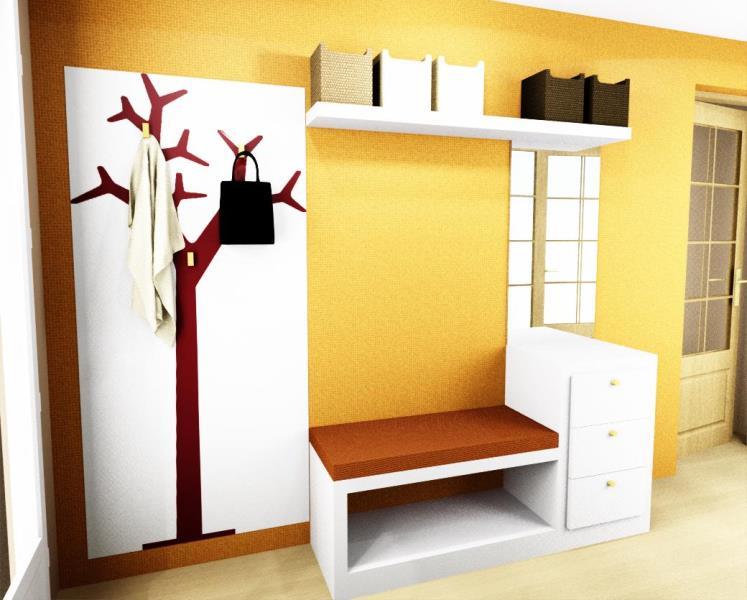 Proyecto bancada baldas perchero y papel pintado for Papel pintado recibidor