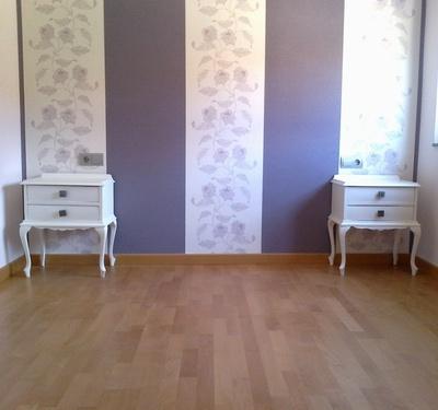 papel pintado combinado guirnaldas y liso tonos malva u reformas y decoracin de interiores en len