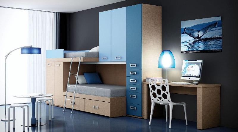 Dormitorio tren juvenil en azul reformas y decoraci n de - Habitaciones juveniles tren ...