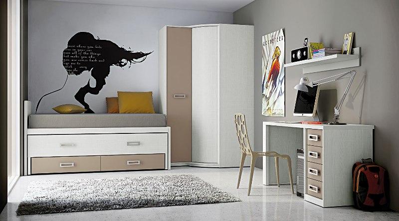 Juvenil dormitorio nido con cajones armario en esquina en for Dormitorios juveniles con armario esquinero