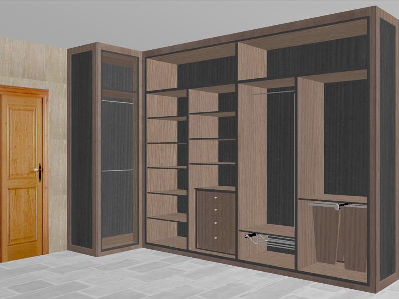 Dise o interior vestidor en esquina reformas y for Distribucion de armarios empotrados por dentro
