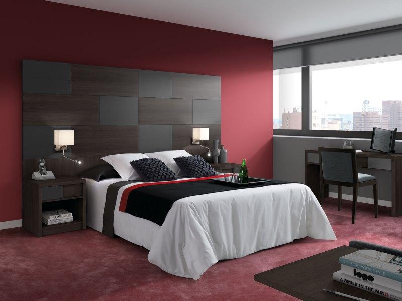 Cabecero alto dormitorio principal plomo y wengue apliques - Apliques pared dormitorio ...