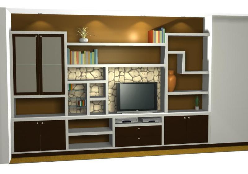 Proyecto mueble sal n pladur reformas y decoraci n de for Fotos de librerias de salon