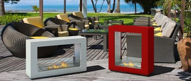 chimenea porttil zona chill out color rojo reformas y decoracin de interiores en len