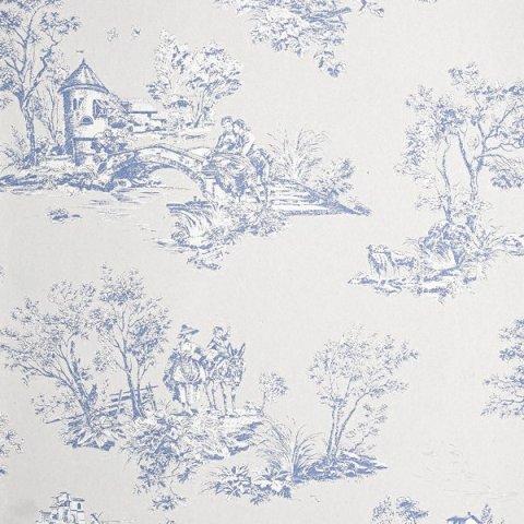 Papel pintado toile de jouy azul chantilly casadeco - Papel pintado toile de jouy ...