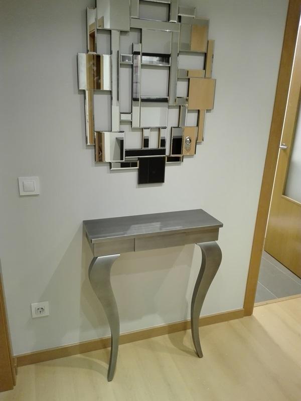 Consola peque a plata envejecida a medida y espejo - Consola pequena recibidor ...