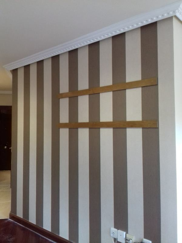 Papel pintado rayas marr n y beige casamance sal n pared for Papel pintado salon marron